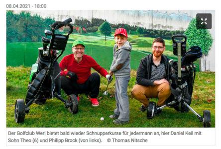 Pressebericht über den Golfclub Werl im Soester Anzeiger vom 8.4.2021